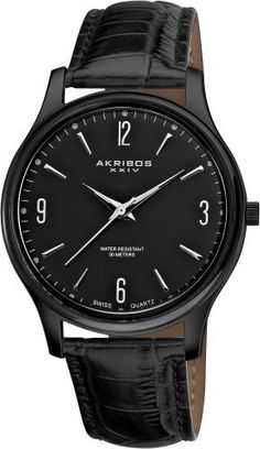 Akribos XXIV Men's AK539BK Stainless Steel Swiss Quartz Strap Watch Akribos XXIV. $79.00
