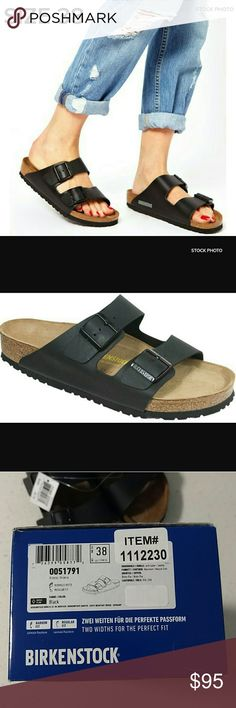 NWT Size 38 BIRKENSTOCK Arizona Sandal Birkenstock Arizona black sandals NWT and box. Promoting premium comfort, balance, and support, this slide sandal features an anatomically correct cork/latex footbed molded to the contours of your foot. Includes adjustable buckle straps for notching up that perfect fit, a flexible EVA outsole for lightweight shock absorption.  Size EU 38/7 US.  If you want a diff size, please check my closet or msg me and I may have it.  :). Birkenstock Shoes Sandals