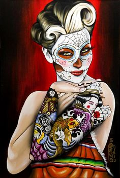 Alaska based artist Gustavo Rimada has been drawing since before he can remember.  His work reflects his proud Mexican heritage, using a combination of Cholita style girls, Mexican Folk Art, 50's Pin-Up, Pinstriping and tattoo style design.    His influences range from the original old school tattooist Sailor Jerry and pinstriper Von Dutch, right through to artists of today such as Sylvia Ji – Just don't call him a rip off!