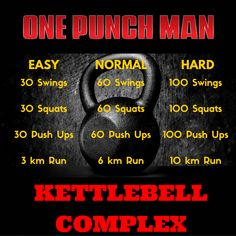 I've decided to formulate a kettlebell complex with the One Punch Man theme. I call it the One Punch Man Kettlebell Complex! Kettlebell Challenge, Kettlebell Circuit, Kettlebell Training, Workout Challenge, Kettlebell Program, Kettlebell Routines, Hiit Benefits, Kettlebell Benefits, Wod Workout