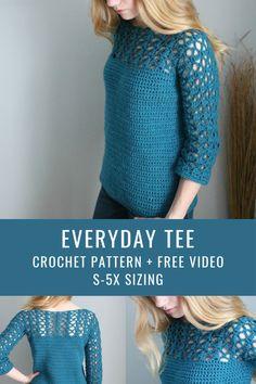 Crochet T Shirts, Crochet Blouse, Crochet Clothes, Crochet Lace, Free Crochet, Crochet Sweaters, Crochet Shrugs, Crochet Tops, Crochet Tunic Pattern