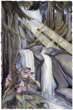 May The Forest Be With You by Jody Bergsma ~ butterfly ~ waterfall ~ watercolor
