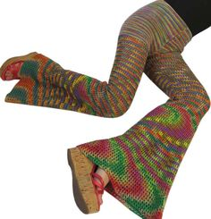 Double Rainbow Cotton Crochet  Bell Bottoms / Flared Leggings.