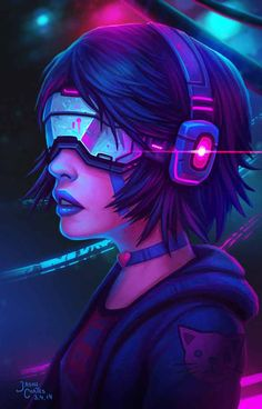 Cyberpunk Hacker Girl in tech outfit By Jason Cortes female woman cyberpunk character design inspiration ideas cyborg in armor concept art illustration