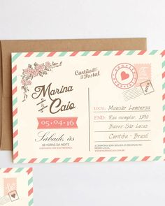 Wedding Postcard Invitations Pinteres