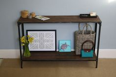 Console Table Urban Vintage Industrial Rustic - Pewter