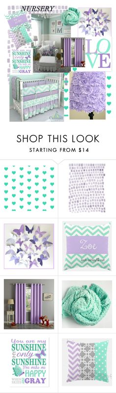 """""""Lilac & Mint Nursery"""" by medgurl ❤ liked on Polyvore featuring interior, interiors, interior design, home, home decor, interior decorating, colorchallenge and lilacandmint"""