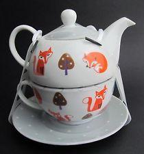 Fox Tea for One- China Teapot & Cup & Saucer Set  Grey