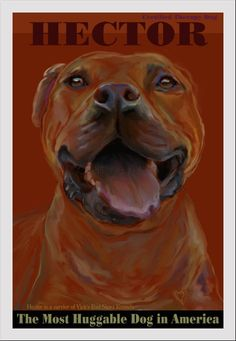 Pit bull Art former Michael Vick dog fine art by Pupsketches, $95.00