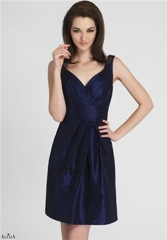 Shantung bridesmaid dress with sweetheart neckline and asymetrical pleating on bodice and skirt.  Also available in long style 114L.