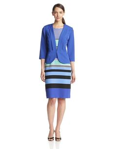 Danny & Nicole Women's Stripe Dress with Structured Jacket, Sapphire Multi, 16 Danny and Nicole,