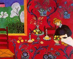 Gedekte tafel, harmonie in rood - Matisse. Combineren van evocatieve (doorbreken van het vlak, perspectief) en decoratieve (respect voor het platte vlak). Dieptewerking én kleurwerking.