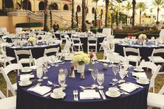 Pink navy weddng tables