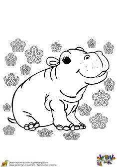 La bébé hippopotame est tout joyeux, ce dessin est à colorier.