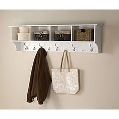 @Overstock.com.com - Winslow White 60-inch Wide Hanging Entryway Shelf - Stop losing your keys and get organized with the hanging entryway shelf. The durable fresh white laminate-finished shelf is easy to install. You can hang keys, coats, handbags, backpacks and more, and you can be creative with the storage compartments.  http://www.overstock.com/Home-Garden/Winslow-White-60-inch-Wide-Hanging-Entryway-Shelf/6722431/product.html?CID=214117 $118.98