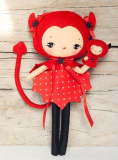 PDF. Halloween Bat and Devil dolls with puppets .Plush Doll Pattern, Softie Pattern, Soft felt Toy Pattern.. $10.00, via Etsy.