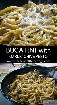Garlic Scapes are in season, so don't miss out on this incredible pasta dish. BUCATINI with LEMON GARLIC CHIVE PESTO is easy to make and a spring, early summer treat. #garlicscaperecipe #easypastarecipe #summerrecipe #weeknightdinner #cottagerecipe #seasonalingredients