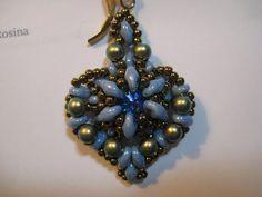 Bead Woven Dangle Heart Shaped Earrings by SleepingCatDesigns