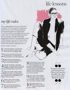 Life lessons with Jenna Lyons - I'm right there with her! Great advice!!