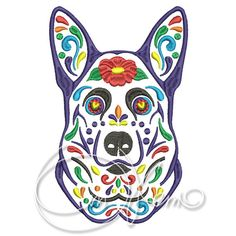 MACHINE EMBROIDERY DESIGN  Calavera German Shepherd Dia by OTKETO