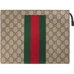 Gucci Signature Web Cosmetic Case ($650) ❤ liked on Polyvore featuring beauty products, beauty accessories, bags & cases, cosmetic bags, purse makeup bag, travel kit, make up bag and dop kit