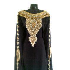 Moroccan Goddess Abaya Caftan, Gold Beaded Kaftan Dress, Kaftan Maxi Dress, Dubai Kaftan, Oversized Black Evening Gown, Plus Size, S-XXXXL