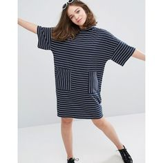 Monki Stripe Oversized Pocket T-Shirt Dress (£25) ❤ liked on Polyvore featuring dresses, navy, tee dress, stripe dresses, navy stripe dress, navy blue t shirt dress and tall dresses