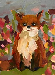 Floral Fox Original Bird Oil Painting by Angela Moulton ACEO Art #Impressionism