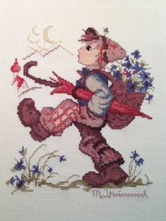 "Vintage - Beautifully Finished Cross Stitch Hummel ""Globetrotter"". View 1 of 5"