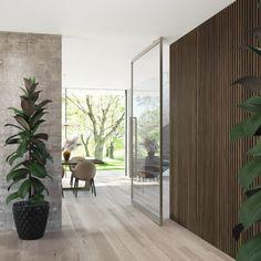 Die Tür öffnet sich leicht wie eine Feder und die Bewegung ist von absoluter Eleganz. Sie schließt flüsterleise und gedämpft. Home Room Design, Interior Design Living Room, House Design, Modern Entrance Door, Pivot Doors, Style Deco, House Rooms, Door Design, Home And Living