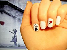 Banksy inspired nails. I wish I had the talent to free hand this