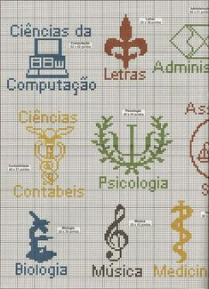profissoes-ponto-cruz-2-500x350 Ponto cruz de profissões Mini Cross Stitch, Cross Stitch Charts, Cross Stitch Patterns, Diy Embroidery, Cross Stitch Embroidery, Medical Symbols, Seed Bead Jewelry, Cross Stitching, Needlepoint