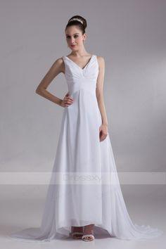 Backless Ruffles A-line Ankle-length Wedding Dresses