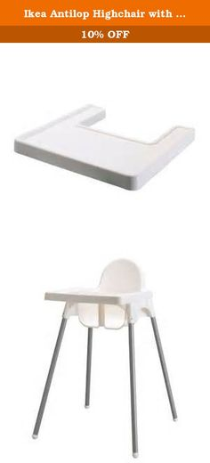 "Ikea Antilop Highchair with Tray,safety Belt, White, Silver Color and Antilop Highchair White. Product dimensions Depth: 24 3/8 "" Height: 35 3/8 "" Width: 22 7/8 "" Good to know Safety belt included. Product materials Highchair leg: Leg: Steel, Pigmented epoxy/polyester powder coating Foot: Polypropylene, Polyethylene Spring/ Pin: Steel Seat shell for highchair/ highchair tray: Polypropylene."