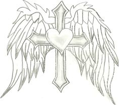 Heart with Wings and Cross Drawings, coloring pages heart - KidsIMG