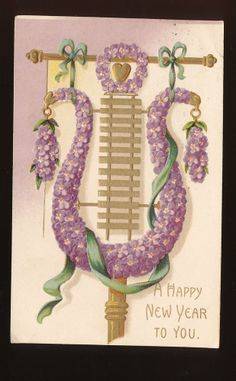 Beautiful Musical Harp with Flowers Antique c.1908 New Year Postcard-mmm215