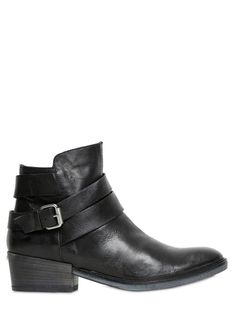 JANET&JANET - 30MM LEATHER ANKLE BOOTS - LUISAVIAROMA - LUXURY SHOPPING WORLDWIDE SHIPPING - FLORENCE