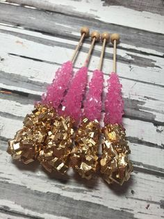 Pink and gold glam rock candy!!! The perfect wedding favors!!! Contact me today on Etsy to purchase!!!