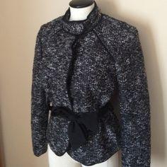 Sandro Tweed Jacket Black/grey tweed, structured jacket with tie at waist. Sandro Jackets & Coats