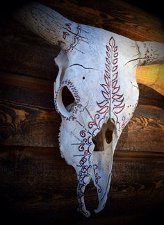 """""""Castilleja""""  Calamity Hand Painted Found Cow Skull by Amy Symonds   #indianpaintbrush  sold"""