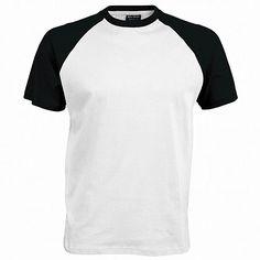 T-shirt de baseball à manches courtes Kariban pour homme (XL) (Blanc Noir)   Amazon.fr  Vêtements et accessoires fa90a7ed0fcf