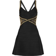 Hervé Léger Embellished bandage dress ($910) ❤ liked on Polyvore featuring dresses, vestidos, short dresses, robes, black, embellished cocktail dress, embellished dress, circle skirt and skater skirts