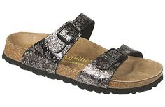 Papillio Sydney  Floral Impression Nero Grigio Leather  Sale: $69   Reg. $99   Save 30%     Two thinner, contoured straps make this style very comfortable for those with prominent foot bones. Creative patterns and materials set the Papillio Sydney apart. The cork footbed is sculpted to match your arches providing support and all-day comfort. EVA soles are flexible, lightweight, durable and resoleable.