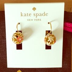 Kate Spade Wallflower Earrings Adorable Kate Spade Wallflower earrings. Pink multi-color, gold tone, lever backs. Comes with original packaging and dust pouch. Worn once for a few hours. kate spade Jewelry Earrings
