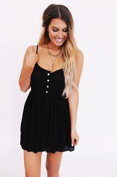 Black Button Front Tank Dress - Dottie Couture Boutique