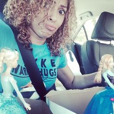 Trying hard to hold on to the two doll cakes that we just decorated while transporting them to their final destination. Another FROZEN party.