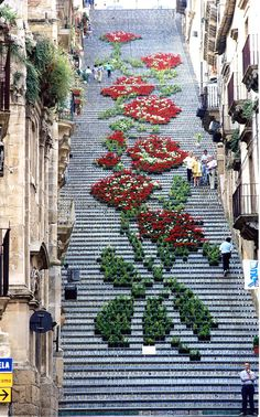 THE AMAZING WORLD: Santa Maria del Monte, Caltagirone, Sicily, Italy. Caltagirone (Sicilian: Caltaggiruni) is a town and comune in the province of Catania, on the island (and region) of Sicily. Beautiful World, Beautiful Places, Beautiful Stairs, Beautiful Flowers, Real Flowers, City Flowers, Flowers Nature, Beautiful Pictures, Flower Festival