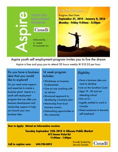 Sign up for Aspire Youth Self Employment Program Sept 21 to Jan 8. INFO Session Sept 15th. Sunshine Coast BC. http://www.duaneburnett.com/19549/aspire-youth-self-employment-program