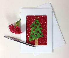 Wonky Tree Greeting Card Fabric Christmas Tree Card by FabriArts