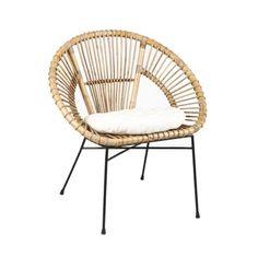 Fauteuil en rotin avec coussin. Le fauteuil en rotin avec piétement métal filiforme pour un intérieur moderne ou c…